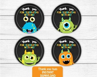 Printable Monster Thank you Tag, Monsters Birthday Thank you tag, Monster Birthday Favors, 2 inches Round Thank You Tags INSTANT DOWNLOAD