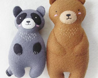 Woodland Animals Felt Plush Set, Brown bear and Raccoon Felt Dolls with Embroidery Details, Set of Two Felt Dolls with Special Price