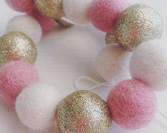 Light pink, ivory and gold glitter felt ball garland