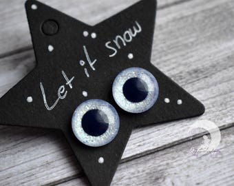 """Pullip Eyechips Glitter """"Let it Snow"""" - 13mm animal eyes painted by hand!  Limited Edition!"""