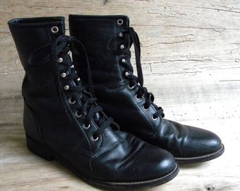 Vintage Black Leather Tie Up Boots ByJustin /Justin Ropers / Riding Boots / Combat Boots / Black Leather Boots / Women's 8.5/9