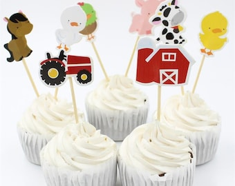 Farm Animals Cupcake Toppers - Set of 24 (8 Designs) DIY Cupcake Toppers