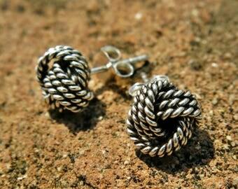 Sterling Silver Knot stud earrings - knot earrings, yoga jewelry, friendship token, hypoallergenic for sensitive ears