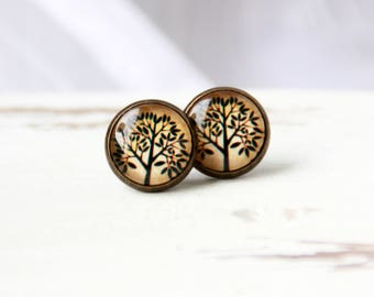 12 mm ear studs, tree of life, Brown, stud earrings, tree stud earrings, brown stud earrings