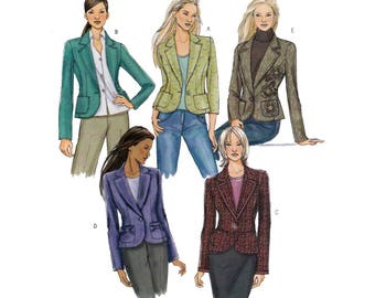 "Women's Classic Tailored Jacket Sewing Pattern Misses Size 6, 8, 10, 12 Bust 30 1/2 - 34"" Uncut Butterick B4610"