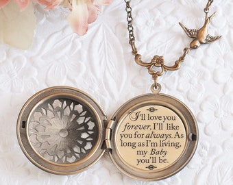 I'll love you forever I'll like you for always as long as I'm living my baby you'll be Quote Necklace Daughter Necklace Gift for Daughter