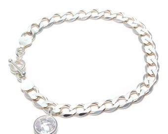 Bracelet from 925 sterling silver with cubic zirconia pendant