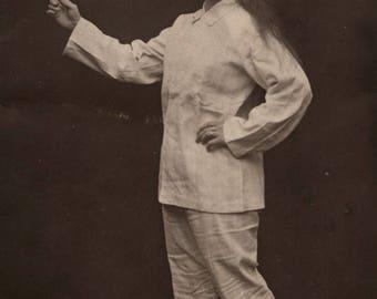 B216 - Vintage Postcard Lady Posing Unusual