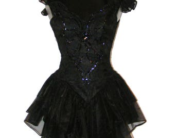 Vintage 1980s Black Beaded Lace tiered dress by Notorious in size 3