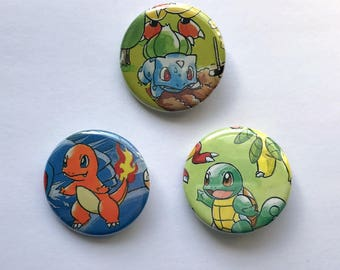 Pokemon Button Set - Bulbasaur Charmander Squirtle - Set of 3 - Upcycled Pinback Buttons - Kanto Starters - Pokemon Pins - Pokemon Badges