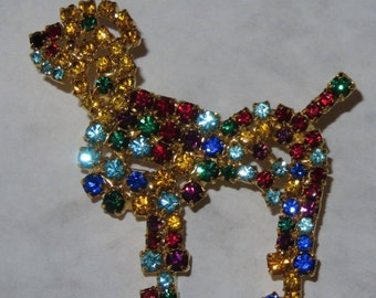 Vintage Rhinestone Poodle Brooch Pin Dog Czechoslovakia