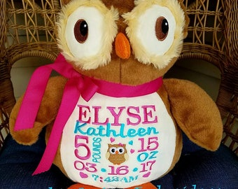 Personalized Baby Gift Embroidered Baby Gift Owl Stuffed Animal Birth Announcement by Sewbiz Embroidery Too