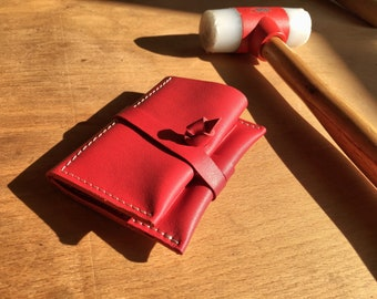 Tobacco pouch/ Leather tobacco case/Leather pouch/red pouch/personalized pouch/tobacco roll/small gift/handmade tobacco pouch/leather gift
