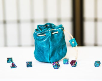 "Four-Sided Leather Dice Bag - ""Lazuli"" ONE OF A KIND"