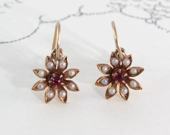Victorian Flower Earrings, Antique 10k Ruby and Seed Pearl Daisy Dangle, Bridal Jewelry Gift