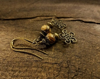 Boho Earrings, Bronze Earrings, Victorian Style Earrings