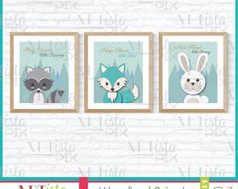 Woodland Animals, Raccoon, Fox, Bunny, 16x20- 8x10 Printable Wall Art, Instant Download