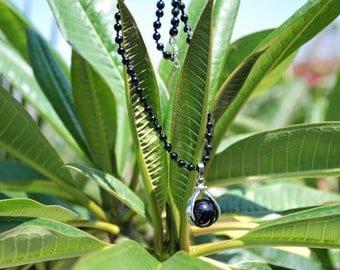 Knotted 4mm Black Tourmaline Semi-precious beaded necklace Gemstone necklace Gemstone jewelry