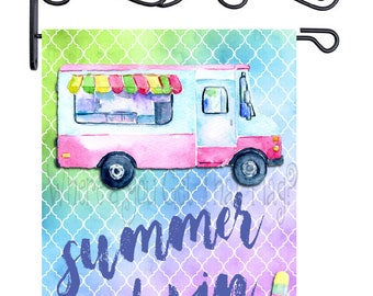 Custom Personalized Garden Flag Ice Cream Truck Watercolor ANY WORDING
