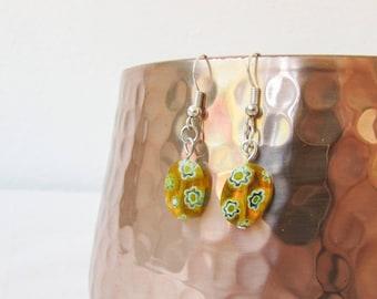CLEARANCE Yellow glass earrings, handmade in the UK
