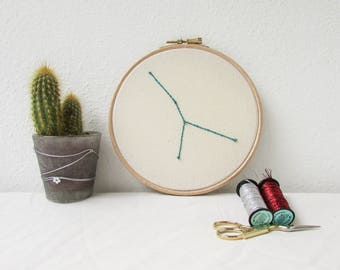 Cancer star sign gift, Hand embroidery hoop art, July birthday gift, sparkly wall hanging, modern embroidery, handmade in the UK
