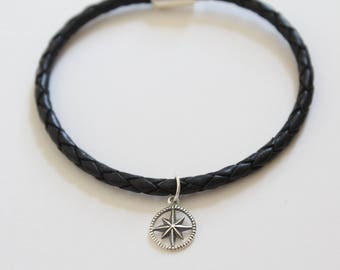 Leather Bracelet with Sterling Silver Starburst Compass Charm, Starburst Compass Pendant Bracelet, Compass Bracelet, Compass Charm Bracelet