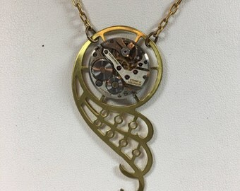 Raw Brass Angel Wing Pendant with Vintage Watch Movement by Victorian Folly
