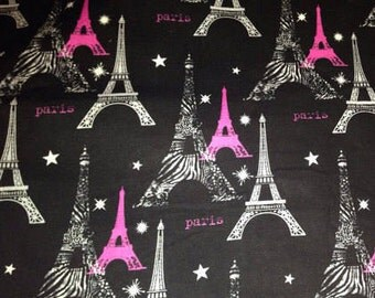 Paris Eiffel Tower Black Gray & Hot Pink Zebra Fabric -  100% Cotton Quilting Apparel Crafts Home decor