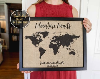 Engagement Gift Personalized, Adventure Awaits World Map, Travel Gift, Burlap Push Pin Travel Map, Wedding Anniversary Gift for Couple
