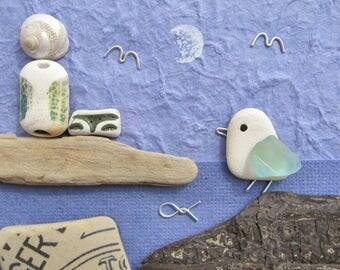 Framed Beach Pebble Art Collage: Seagull & Lighthouse. Scottish Antique Sea Pottery, Driftwood, Sea Glass. Handmade in Fife, Scotland, UK