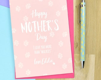 From the dog Mothers day card - mother's day card from the dog, personalised dog card for mum