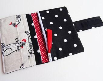 Black Cats Wallet, Black Polka Dots Wallet, Black Fabric Wallet, Cats Handmade Long Bi-fold Fabric Wallet, Vegan Wallet Clutch for Women