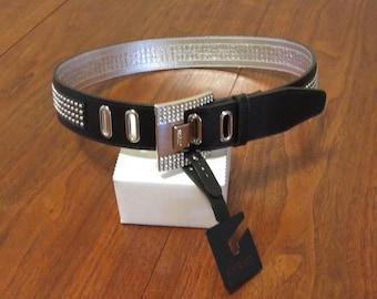 "Vintage 1990s Guess black leather belt NOS unused 33"" waist silver lame buckle metal studs jewels original tag (62417)"