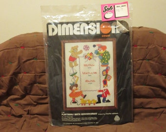 Vintage 1980s 1980 NOS Dimensions crewel embroidery kit birth announcement clowns bears toy soldiers original package price tag (salvy)