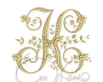 MACHINE EMBROIDERY DESIGN - Victorian Letter K embroidery, Victorian alphabet embroidery, Antique alphabet embroidery, Monogram embroidery