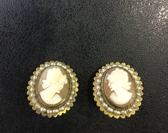 Real cameo clip on earrings