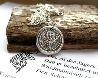 St Hubert, Stag neckace, Wax seal necklace, Cross and antlers, Mens pendant, Mens necklace, Christian necklace, Hunt master, Sterling silver