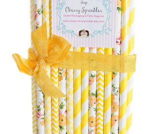 Yellow Floral Straws - Yellow Paper Straws *Yellow Party Decor *Floral Straws *Yellow Wedding *Baby Shower Gift *Bridal Shower  *Cake Pops