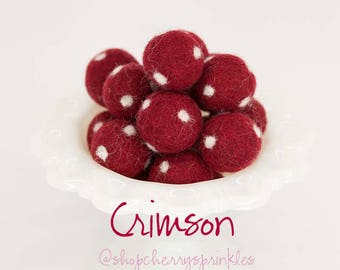 Crimson Felt Balls *2CM -Wool Felt Poms -Christmas Garland -Deep Red Wool Felt Balls *Pom Garland -Felt Ball Garland -Polkadot felt balls