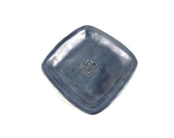 Square dish - octopus dish - Stormy Blue - pottery - ceramic dish - ring dish - pirate dish - octo dish