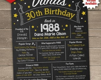 30th Birthday Chalkboard, 30th Birthday Poster, 30th Birthday Centerpiece, 30th Birthday Gift, Printable Sign for DIY printing