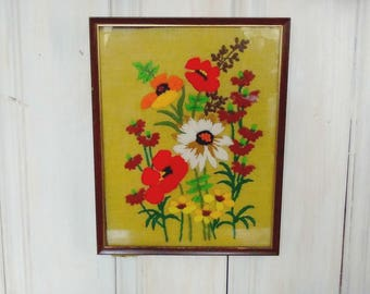 Framed 1970s Floral Crewel Tapestry/Vintage Needlework/Avocado Green/Stylized Bouquet/MidCentury Art/Wall Hanging/lindafrenchgallery