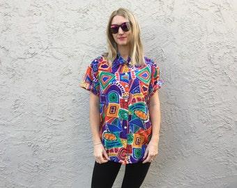 Silk crazy print bright shirt