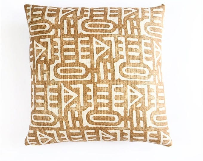 READY TO SHIP Heavy Weight Belgian Linen Tribal Printed Pillow Cover 20x20