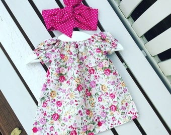 Pretty floral BABY GIRLS dress in 100% cotton rose flower fabric in ages 0-3 months 3-6 months 6-12 months - Can be personalised