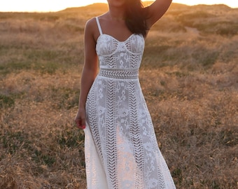 The White Lace Maxi Dress With Bustier Top