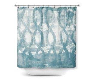 "Shower Curtain, Muted blue White, Abstract Bath Curtain, Home Decor, Bathroom Decor, 71""x74"""