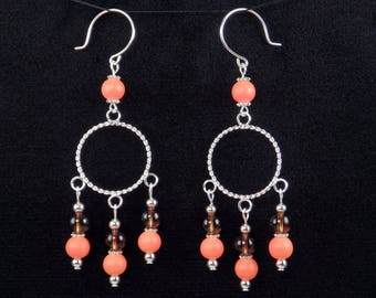 Handmade Orange Brown Glass Bead Silver Hoop Chandelier Earrings