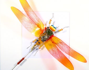 Electrickery Bug Cyberpunk Dragonfly Arthropod Art Sculpture Recycled Art Electronic Bug Mother's Day Gift Computer Gift Geek Gift For Her