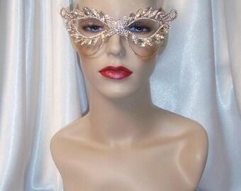 Crystal Masquerade Mask, Gold Metal and Crystal Mask, Wedding Mask, Mardi Gras Mask, Masquerade Mask